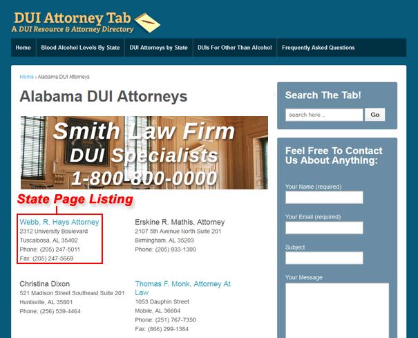 U.S. state page DUI listing