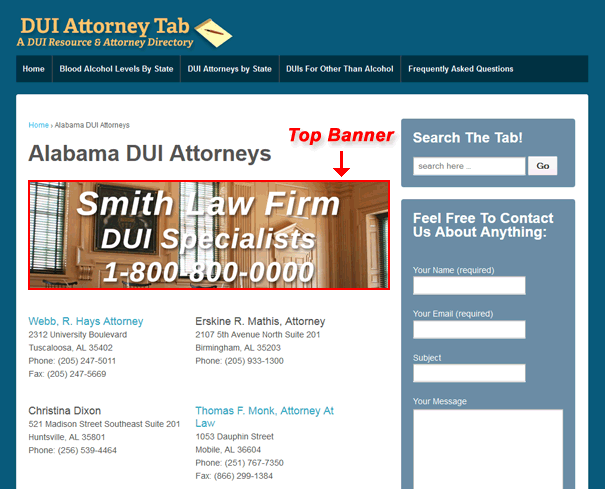 top banner dui advertising location