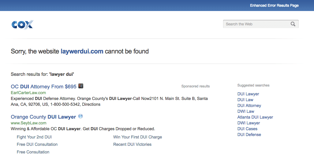lawyer site not found