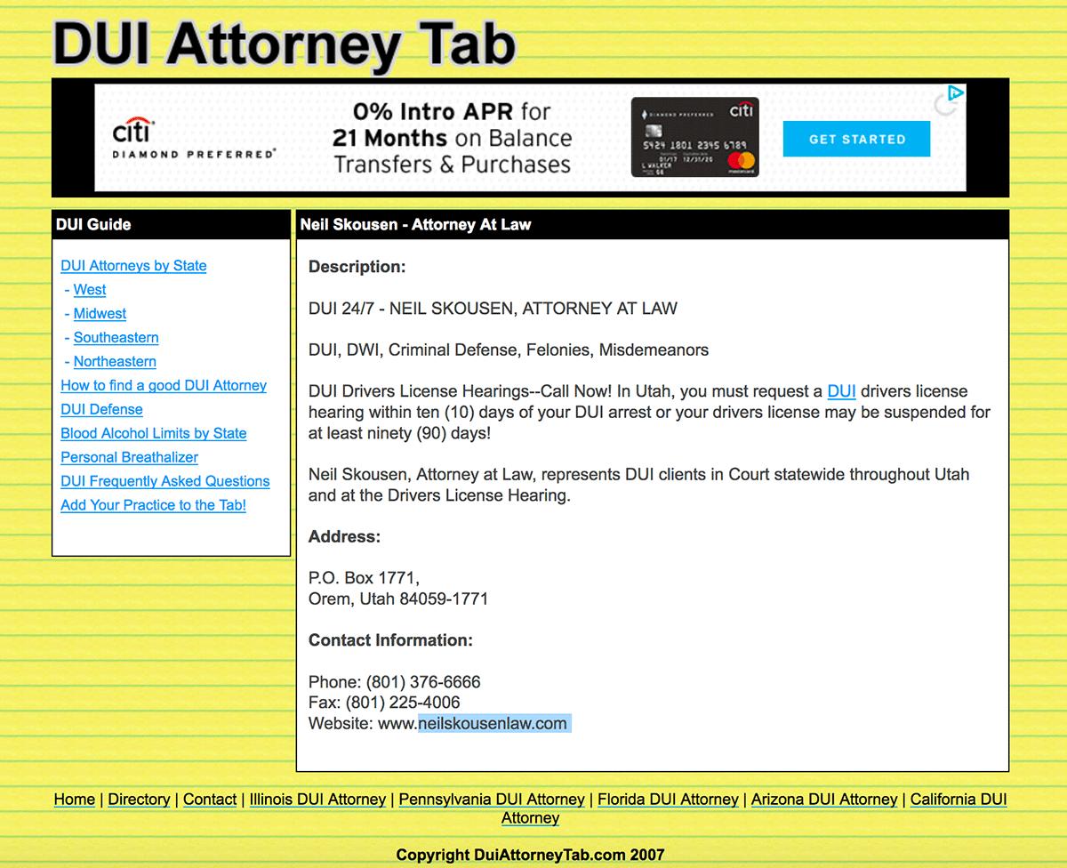 DUI Attorney Tab circa 2007